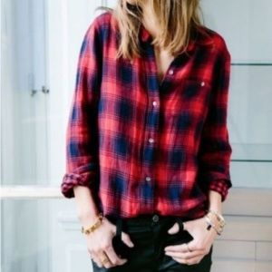 Madewell Classic Red Navy Long Sleeve Flannel M